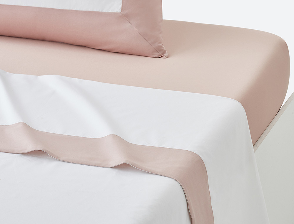 Drap percale blanc parement satin couleur Duo prestige