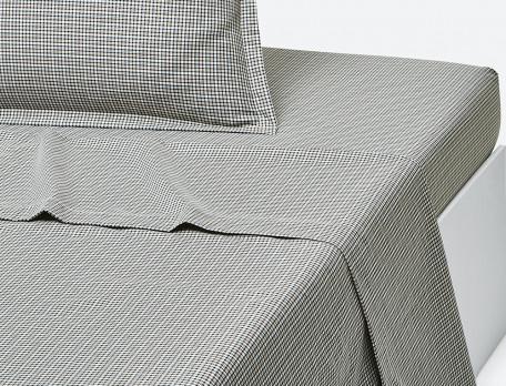 Drap percale éccossais finition ourlet En gris majeur
