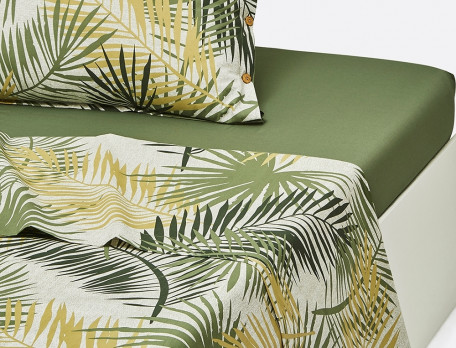 Drap percale imprimé de palmes En safari