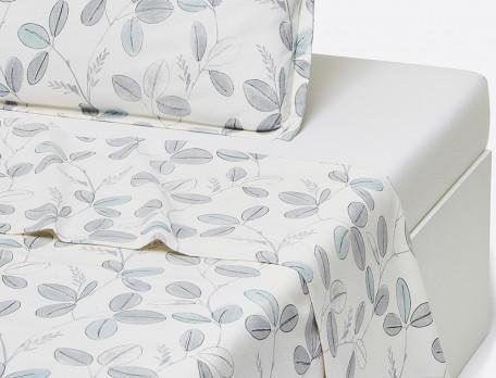 Drap flanelle imprimé motifss feuilles fond blanc cassé Fleur des neiges