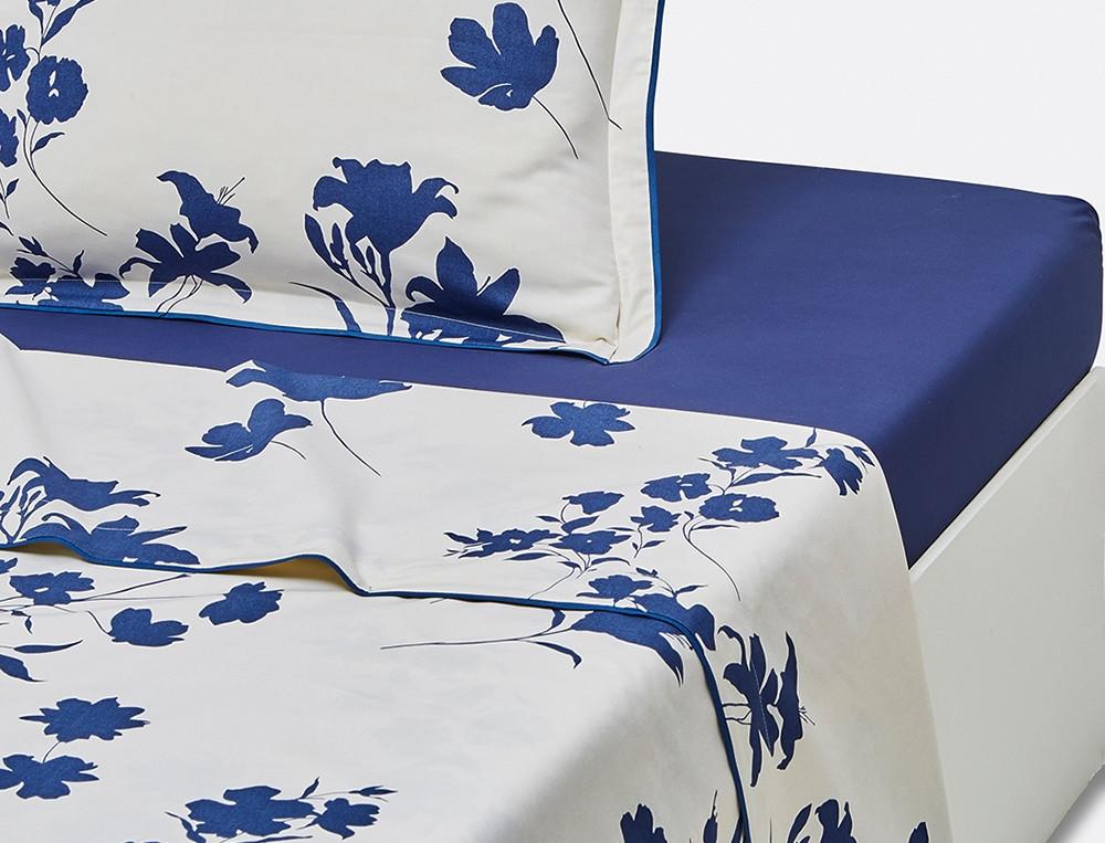 Drap percale imprimé Fleur indigo