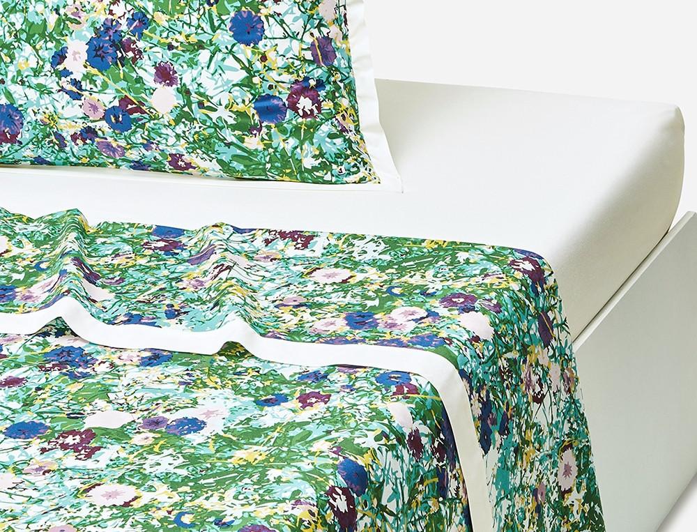 Drap percale imprimé fleui Forêt d'émeraude