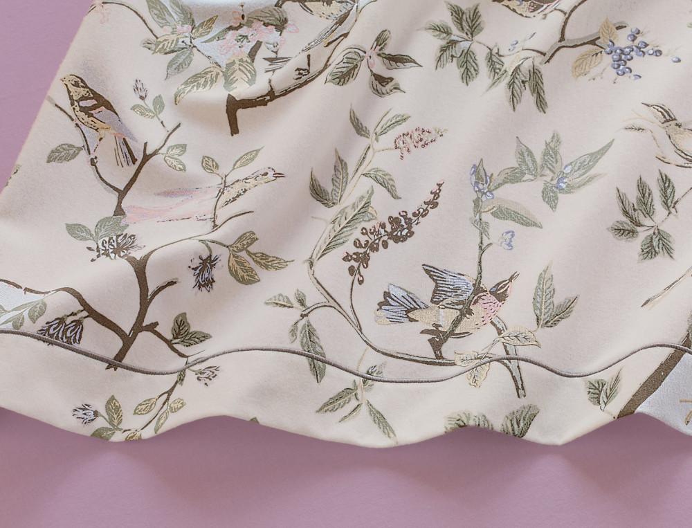 Drap flanelle imprimé fleurs et oiseaux Gâtinais