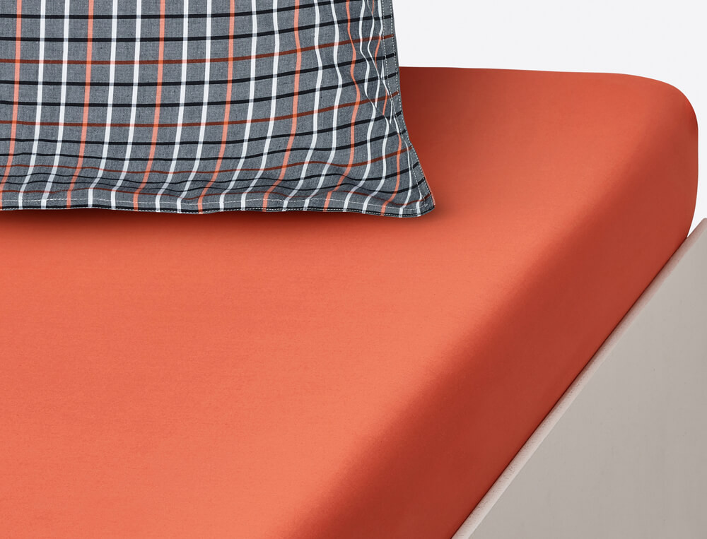 Drap housse percale uni orange bonnet 35 cm À Manhattan
