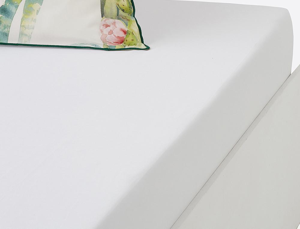 Drap housse percale blanc bonnet 35 cm À Santa Fe