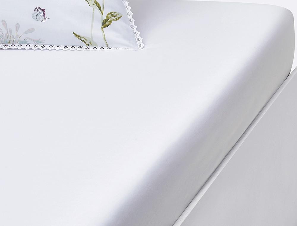 Drap housse percale blanc bonnet 35 cm Anne-Flore