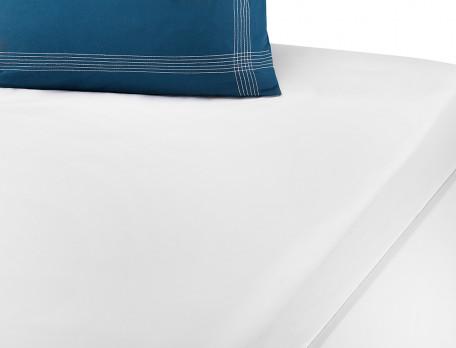 Drap-housse blanc coton lavé Bleu océan