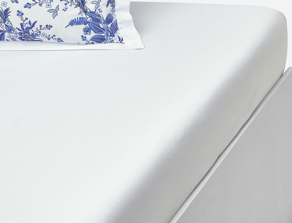 Drap housse percale blanc bonnet 35 cm Bleu poésie