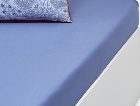 Drap housse percale bleu bonnet 35 cm Bleu porcelaine