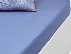 Drap-housse uni Bleu porcelaine bonnet 30 cm