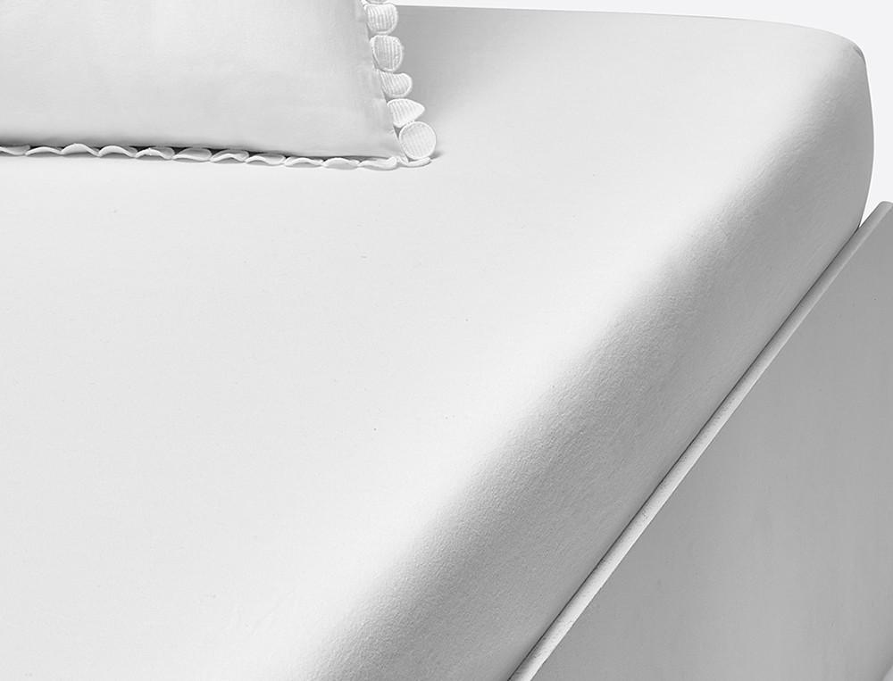 Drap housse percale lavée blanc bonnet 35 cm Bulles de douceurs