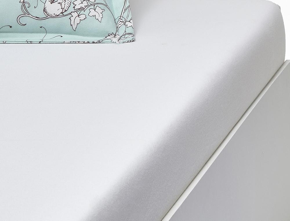 Drap housse flanelle uni ivoire bonnet 35 cm Dans les nuages