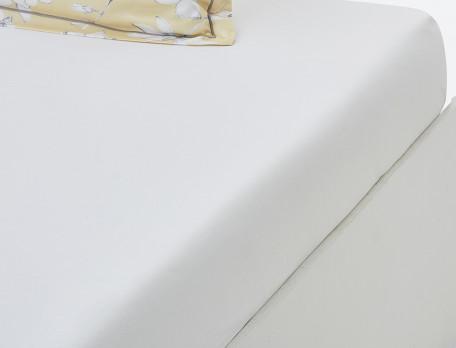 Drap housse satin blanc bonnet 35 cm Fleurs de vanille