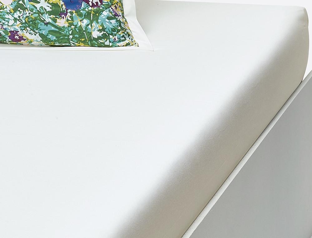 Drap housse percale blanc cassé bonnet 35 cm Forêt d'émeraude