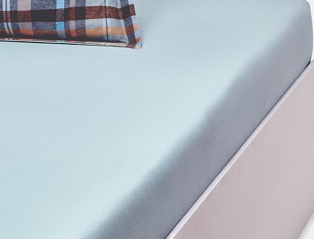 Drap housse flanelle bleu bonnet 35 cm Hiverness