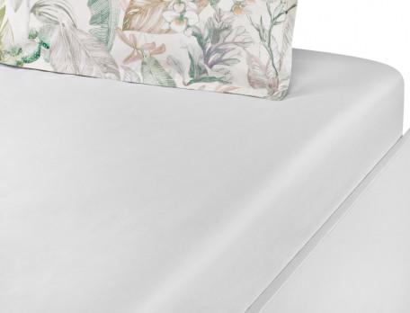 Drap housse coton fin lavé blanc naturel bonnet 35 cm Jardin de bagatelle