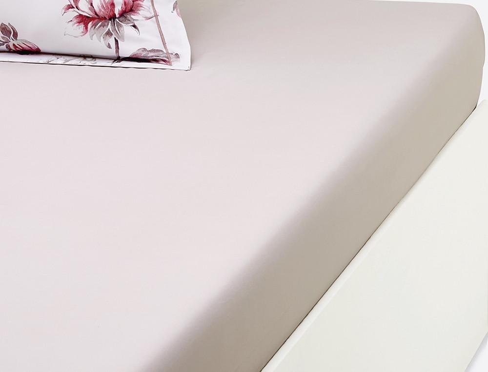 Drap housse percale beige rosé bonnet 35 cm L'amoureuse