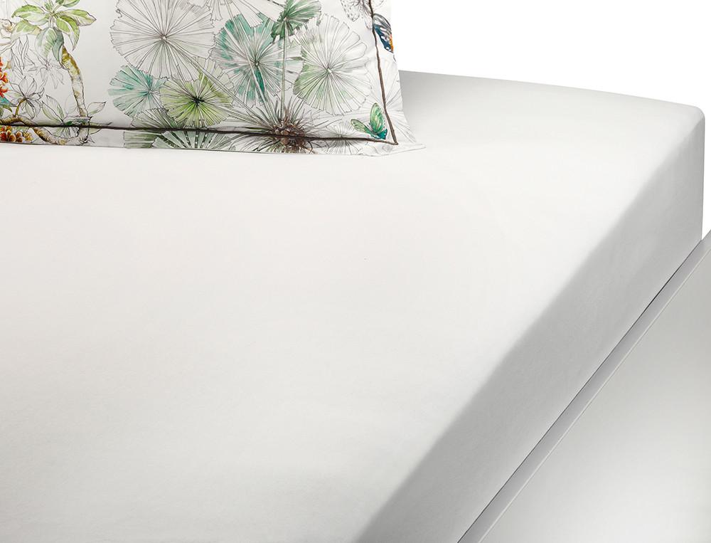 Drap housse percale blanc bonnet 35 cm L'Ile des papillons