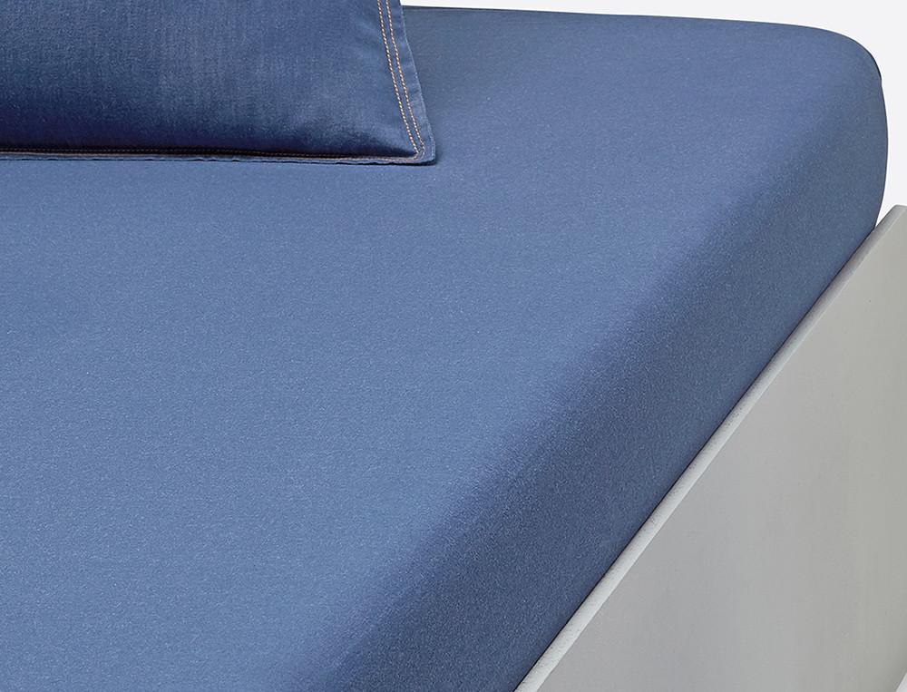 Drap housse percale tissé-teint bleu bonnet 35 cm Les bleus de Nîmes