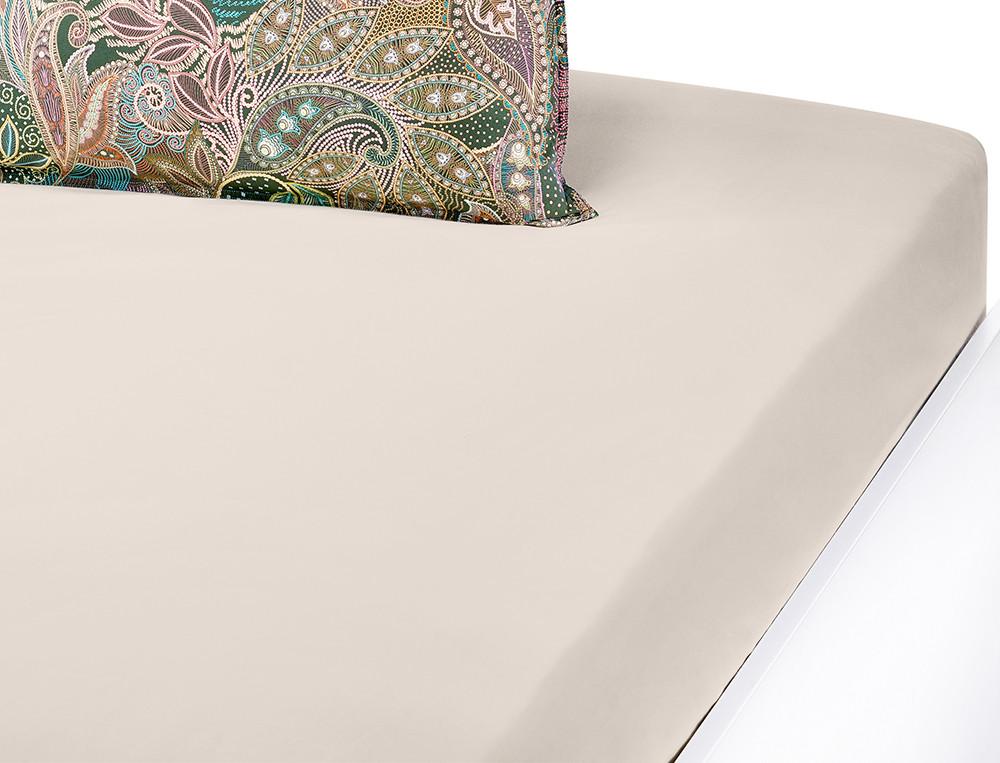Drap-housse percale coton uni ivoire Maharani
