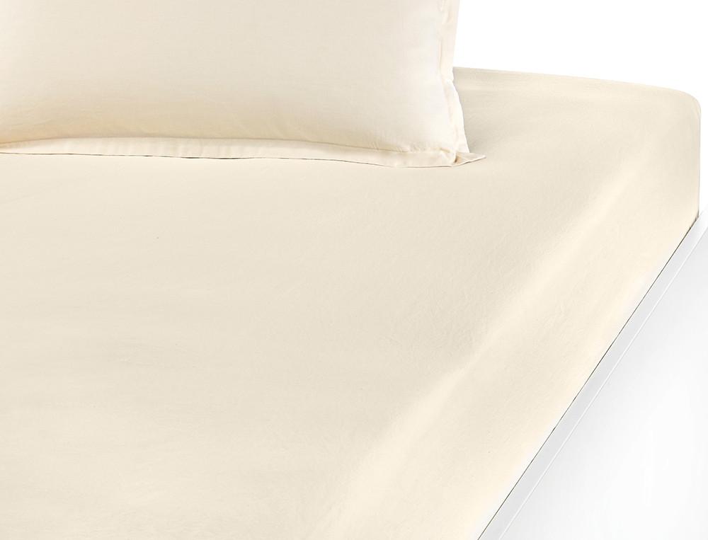 Drap-housse percale lavée 100% coton uni écru Mascarpone