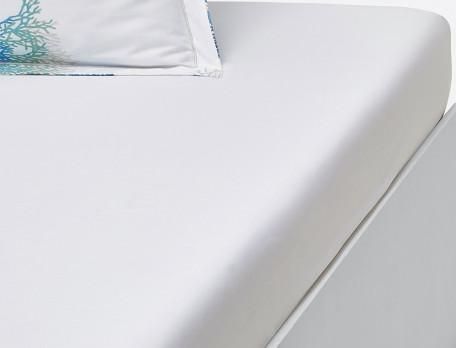 Drap housse percale blanc bonnet 35 cm Mer du Sud