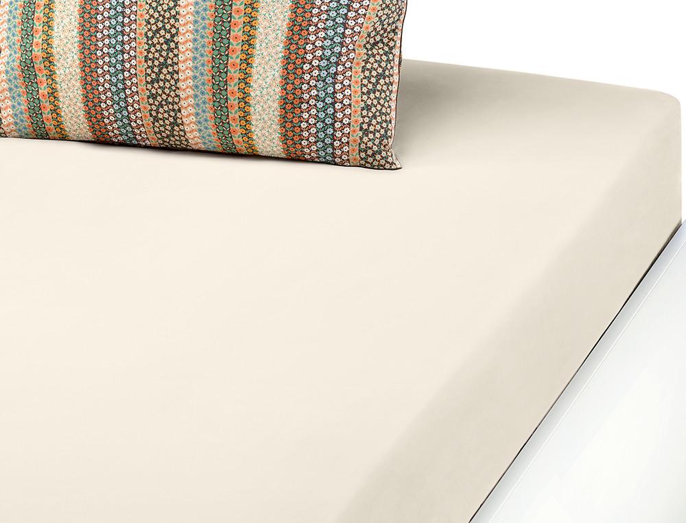 Drap-housse percale coton uni beigeMille fleurs