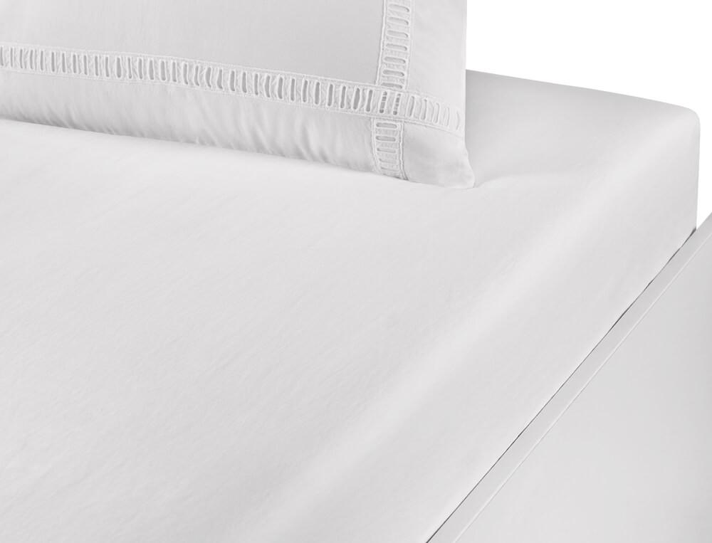 Drap housse percale lavée 100% coton bonnet 35 cm Nuage blanc