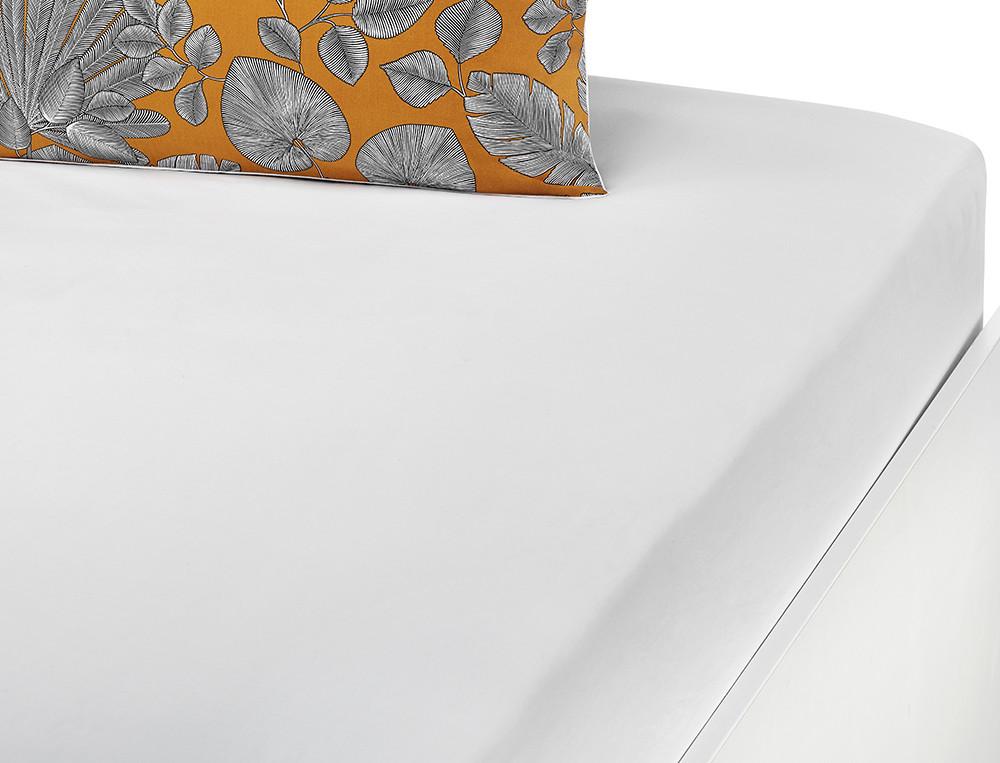 Drap-housse percale coton uni blanc Nuit à Saly