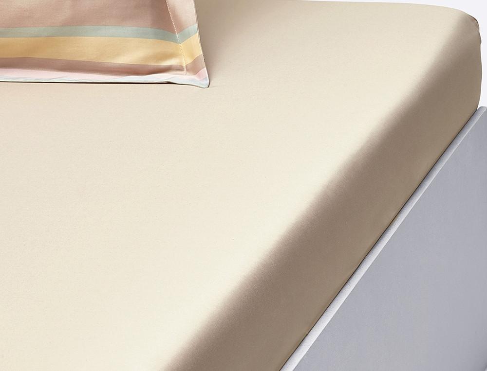 Drap housse satin beige uni bonnet 35 cm Pastels