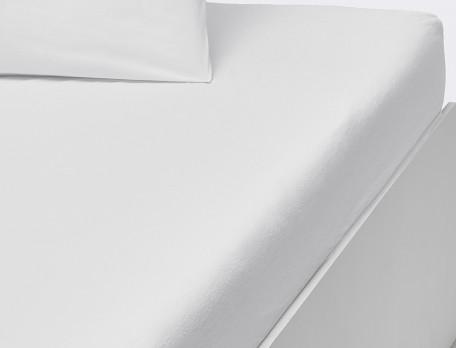 Drap housse percale lavée uni blanc bonnet 35 cm Rêves blancs