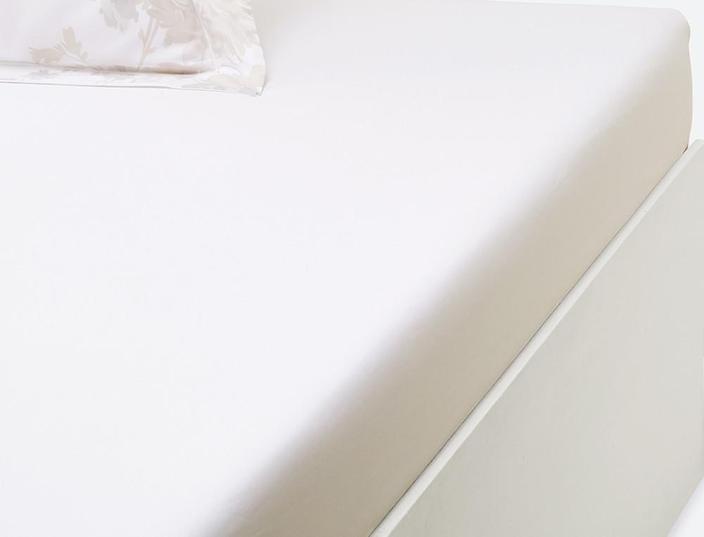 Drap housse percale blanc uni bonnet 35 cm Rêves d'opale