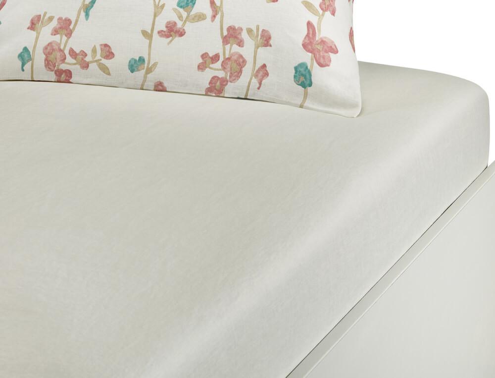 Drap housse métis lavé 50% lin 50% coton blanc Rose trémière
