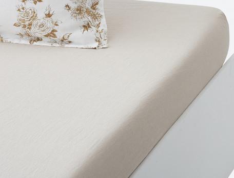 Drap housse lin lavé 100% coton uni couleur sable mouillé bonnet 35 cm Roses de lin