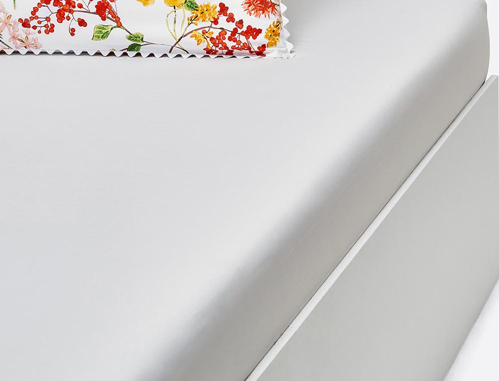 Drap housse percale blanc bonnet 35 cm Saveurs de fleurs