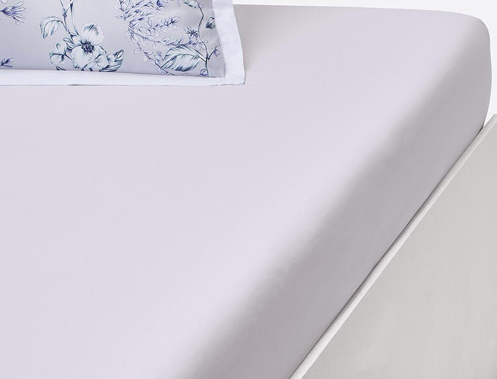 Drap housse percale blanc uni bonnet 35 cm Souffle d'encre