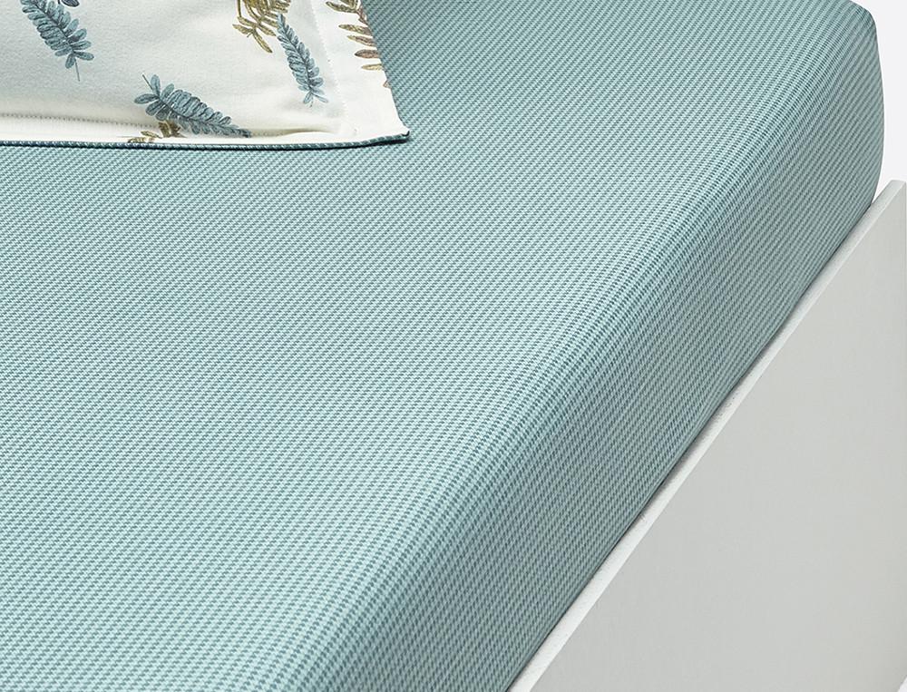 Drap housse flanelle motifs pied de poule bleu gris bonnet 35 cm Sous bois