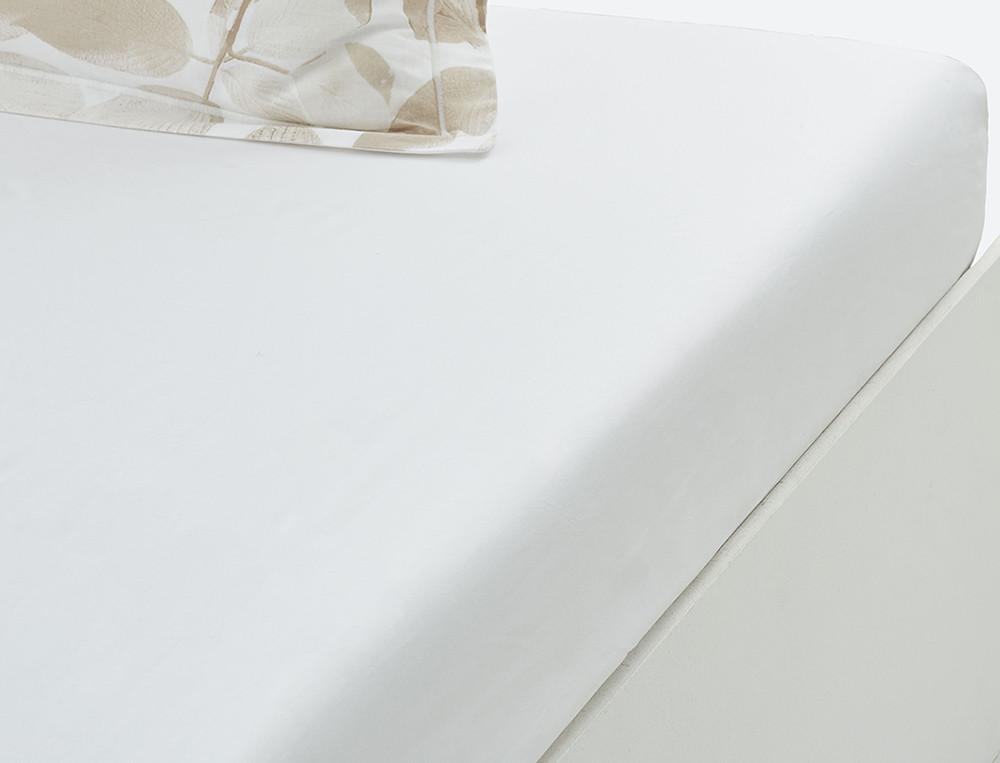 Drap housse 100% coton uni blanc bonnet 35 cm Sous le charme