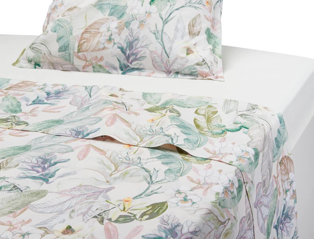 Drap coton lin lavé imprimé fleuri Jardin de bagatelle