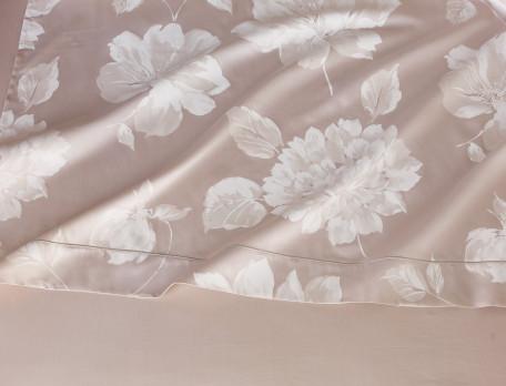 Drap satin beige imprimé fleuri La Scala