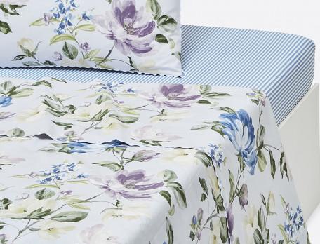 Drap percale imprimé fleuri finition croquet Le jardin de Marie