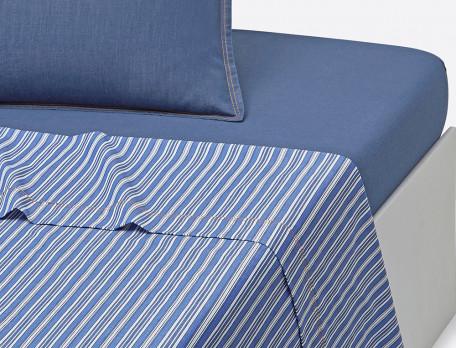 Drap percale rayé bleu finition surpiqûre orangée Les bleus de Nîmes