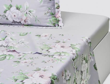 Drap satin imprimé fleuri bords festonnés Les magnolias