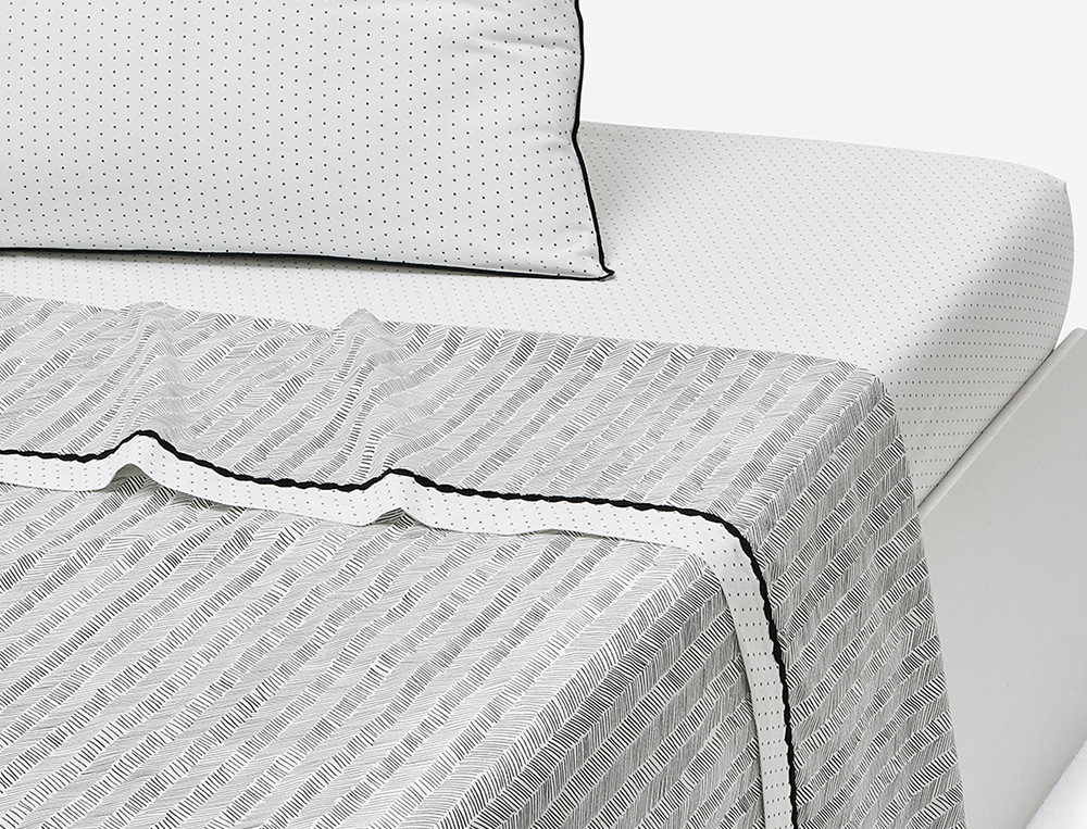 Drap percale imprimé chevrons parement pois galon fantaisie Matin Duo