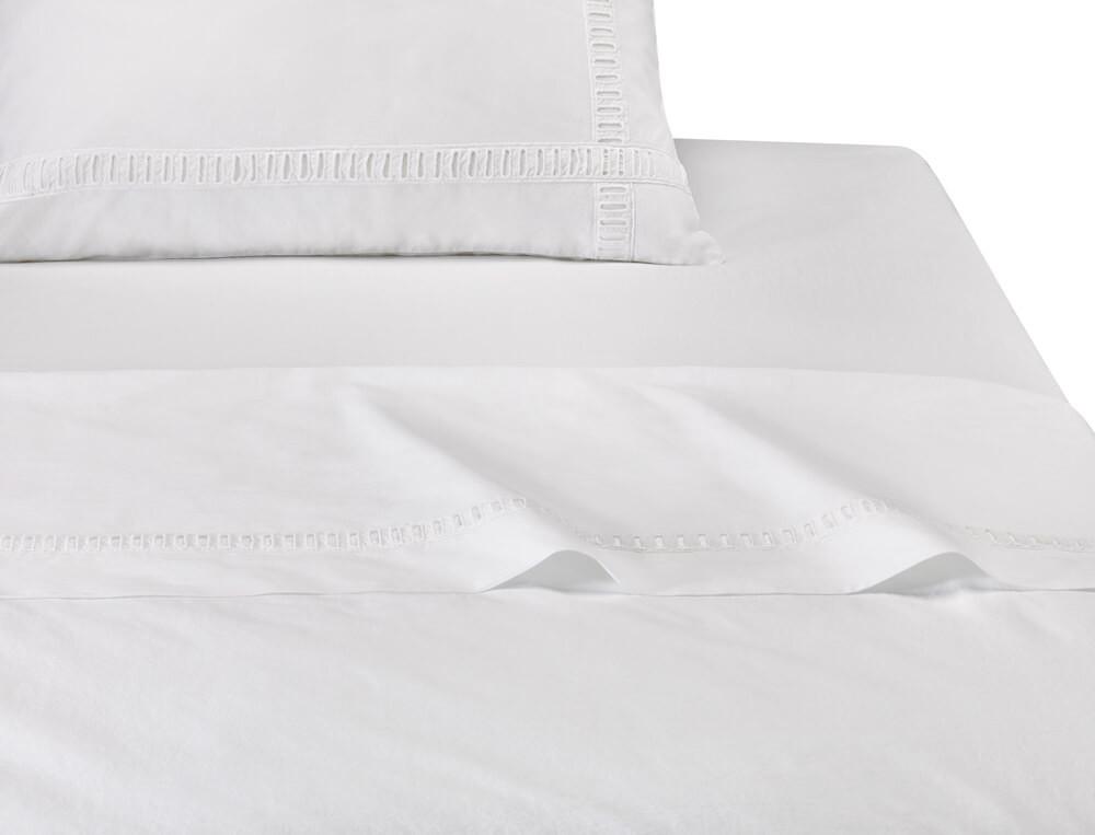 Drap percale lavée 100% coton Nuage blanc