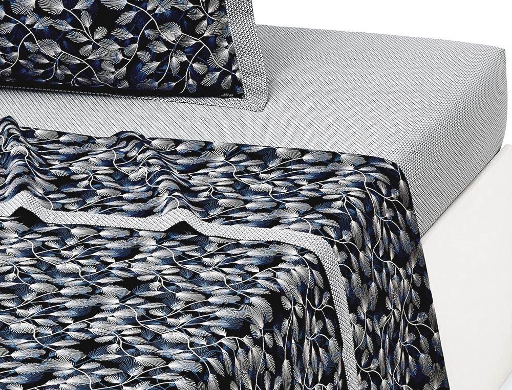 Drap percale bleu profond imprimé palmettes petits motifss parement Nuit céleste