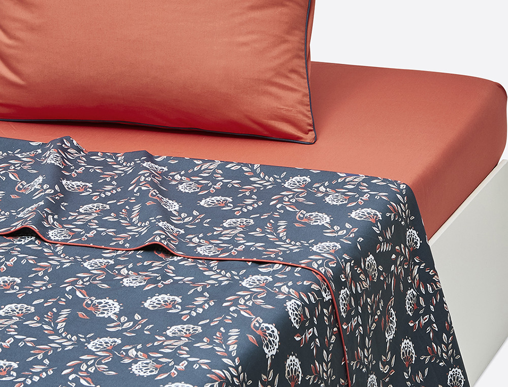 Drap percale imprimé percale Orange bleue