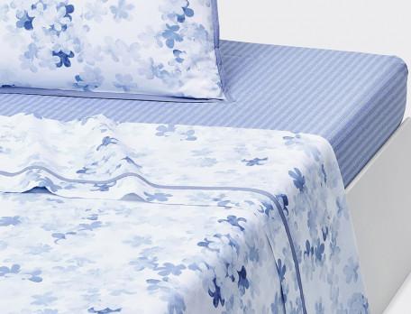 Drap percale imprimé fleuri aquarelle biais bleu Petite fleur bleue