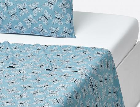 Drap percale imprimé papillon bleu Plein les yeux