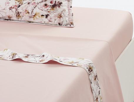 Drap percale uni bois de rose Poésie fleurie